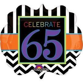 Foil Balloon-Supershape-Celebrate 65 Chevron
