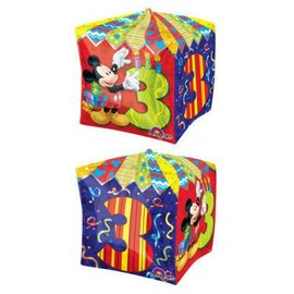 "Foil Balloon - Cube - Mickey Mouse 3rd Birthday - 15""x15"""