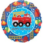 "Foil Balloon - Fire Truck Happy Birthday - 18"""