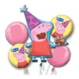 Foil Balloon Bouquet - Peppa Pig - 5 Balloons - 2.75ft