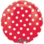 """Foil Balloon - Red with White Dots - 18"""""""