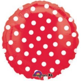 Foil Balloon - Red with White Dots - 18""