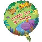 "Foil Balloon - Jungle Buddies 1st Birthday - 18"""