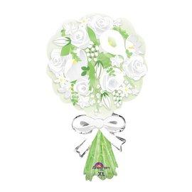 "Foil Balloon - White Flower Bouquet - 30"""