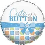 "Foil Balloon - Cute as a Button Boy - 18"""