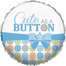 Foil Balloon - Cute as a Button Boy - 18""