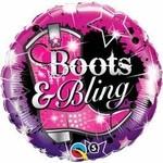 "Foil Balloon - Cowboy Boots & Bling - 18"""