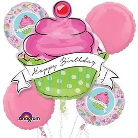 Foil Balloon Bouquet - Sweet Happy Birthday Cupcake - 5 Balloons - 2.4ft