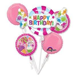 Foil Balloon Bouquet - Happy Birthday Sweet Shop - 5 Balloons - 3.3ft