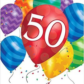Luncheon Napkins-50th Balloon Blast-Discontinued