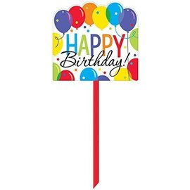"Yard Sign-Plastic-Balloon Bash Happy Birthday-1pkg-14""x15"""