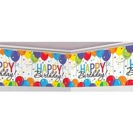 "Giant Banner Roll-Plastic-Balloon Bash Happy Birthday-1pkg-18""x40ft"