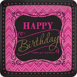 Plates-DN-Born to be Fabulous Birthday-8pkg-Paper- Discontinued/Final Sale