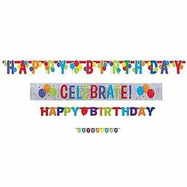 Banner Set-Balloon Bash Birthday-4pkg-7.5ft