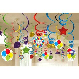 Swirl Decorations-Foil-Balloon Bash Birthday-50pcs