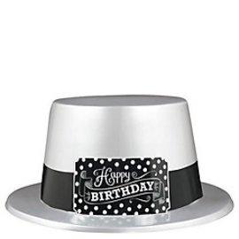 Top Hat-Black & White Happy Birthday-1pkg-Plastic