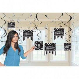 Swirl Decorations-Foil-Black & White Birthday-12pcs