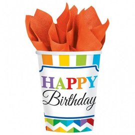 Paper Cups-Bright Happy Birthday-8pkg-9oz - Discontinued