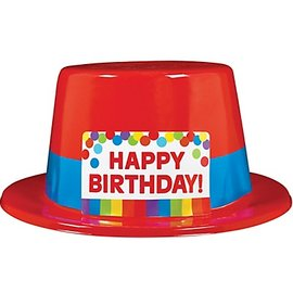 Top Hat-Rainbow Happy Birthday-1pkg-Plastic