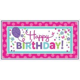"Banner-Pink & Teal Happy Birthday-1pkg-33.5""x65"""