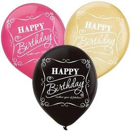 "Latex Balloons-Fabulous Happy Birthday-15pkg-12"""