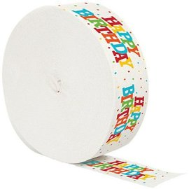 Paper Crepe Streamer-Colorful Happy Birthday-1pkg-30ft