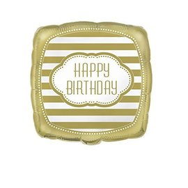 Foil Balloon - Gold Happy Birthday Square - 18''