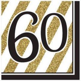 Napkins-LN-60 Black & Gold-16pk-3ply - Discontinued