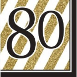 Napkins-LN-80 Black & Gold-16pk-3ply