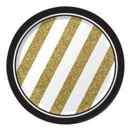 Plates-BEV-Black&Gold-8pk-Paper - Discontinued