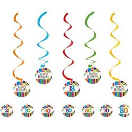 Swirl Decor-Stripes & Dots HBD-19.25''/25.5''-5pk
