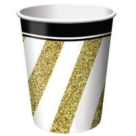 Cups-Black&Gold-Paper-9oz-8pk - Discontinued