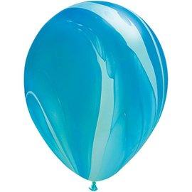 "Latex Balloon-Blue Rainbow SuperAgate-1pkg-11"""