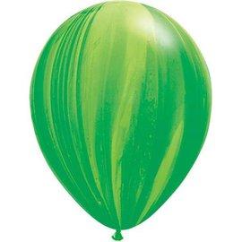 "Latex Balloon-Green Rainbow SuperAgate-1pkg-11"""