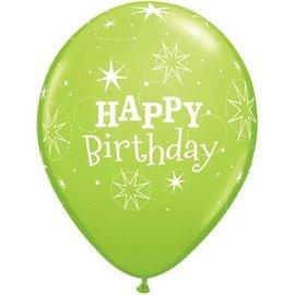 "Latex Balloon-Birthday Sparkle Lime Green-1pkg-11"""