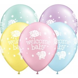 Latex Balloon-Welcome Baby Lambs Assortment-1pkg-11""