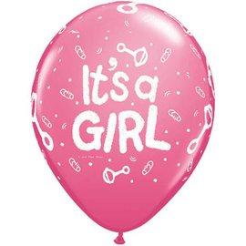 "Latex Balloon-It's A Girl Rattle Rose-1pkg-11"""