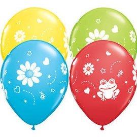 "Latex Balloon-Frogs & Daisies Assortment-1pkg-11"""