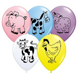 Latex Balloon-Farm Animal Assortment-1pkg-11""