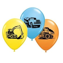 "Latex Balloon-Construction Trucks Assortment-1pkg-11"""