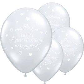 "Latex Balloon-Anniversary Classic Hearts Diamond Clear-1pkg-11"""