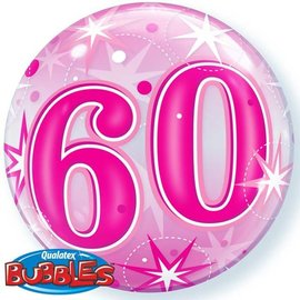 Plastic Bubble Balloon-Pink 60th Bday-1pkg-22""