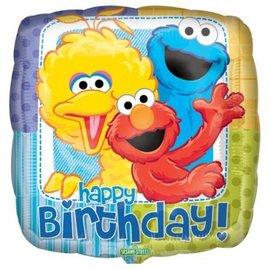 "Foil Balloon - Happy Birthday - Sesame Street - 18"""