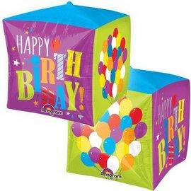 "Foil Balloon - Cube - Happy Birthday - 15"""