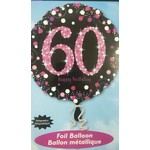 """Foil Balloon - Holographic - 60th Happy Birthday - 18"""""""