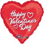 """Foil Balloon - Valentine's Day - Heart - """"Happy Valentine's Day"""" - 18"""""""