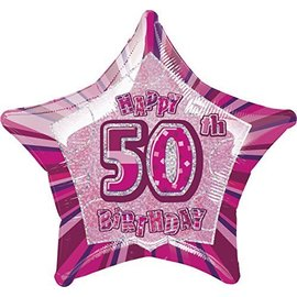 Foil Balloon - Star - 50th Birthday - Pink