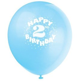 Balloons - Latex - Happy 2nd Birthday - Assorted Colour - 6pcs