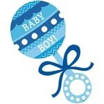 Cutout-Blue Baby Boy Rattle-1pk
