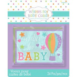 Cards-Wishes For Baby-24pk